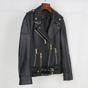 Spring Genuine Leather Jacket Women Fashion Real Sheepskin Coat Belt Zipper Motorcycle Biker Jacket Female Outerwear