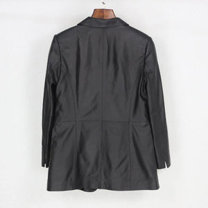 Casual Spring Autumn Black Slim Genuine Sheepskin Blazers Coat Real Leather Jacket Single Button Streetwear Outwear