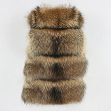 Load image into Gallery viewer, Winter Jacket Women Big Fluffy Real Fur Coat Natural Raccoon Fur Thick Warm Outerwear Streetwear Removable Vest