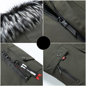Winter Men's Long Parkas Thicken Warm Coat Hooded Fur Collar Coats Windproof Padded Jackets Hat Detachable Fashion Overcoat