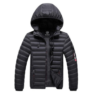 Men's Winter Parka Coats With Headphones Thick Hooded Men's Jackets Solid Warm Jacket Padded Casual Parkas