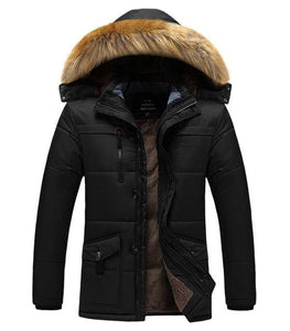 Thick Cotton Padded Parka Men Winter Jacket fur Hooded Coat Multi-pocket Warm Outerwear