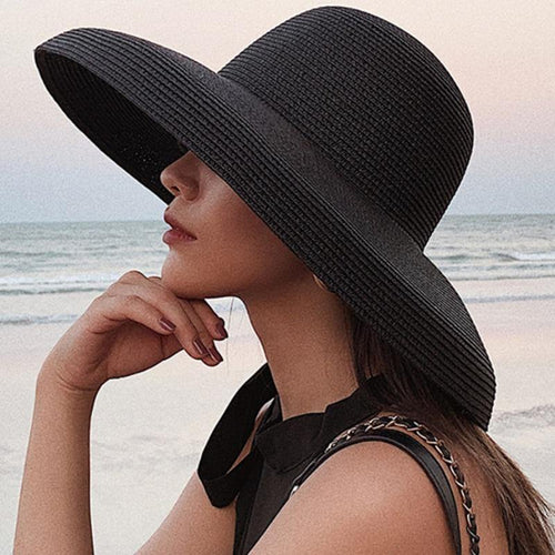 Summer Sun Hats Ladies Solid Plain Elegant Wide Brim Hat Female Round Top Panama Floppy Straw Beach Hat Women