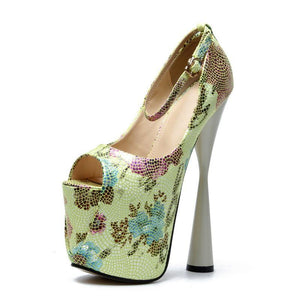Flower Thick Heel Peep Toe Pumps Women Sexy Super High Heels Female Ankle Strap Party Wedding Shoes