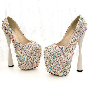 Fashion Weave Fabric Super High Heels Platform Shoes Woman Wine Cup Heel Pumps Office Shoes