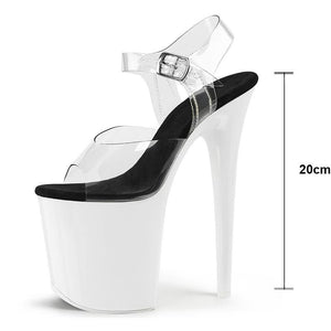 20cm Sexy Party High Heel Shoes Women Mixed Color Peep Toe Gladiator Sandals Thin Heel Pumps - moonaro