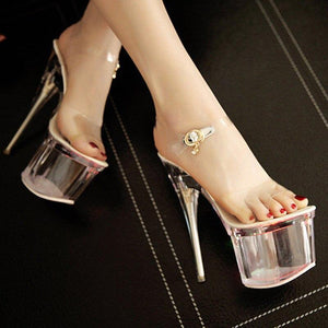 Fashion Women Crystal LED Light Sandals Ladies Buckle Strap High Heels Woman Night Club Party Shoes