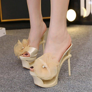 15cm Women's Sandals Satin Insert Drilled Chiffon Waterproof High Heel Shoes Ladies Mesh Flower Slippers