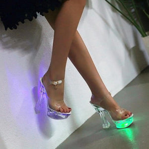 Nightclub Party Led Light Shoes Women Steel Tube Dance Shoes Women's Crystal High Heel Sandals