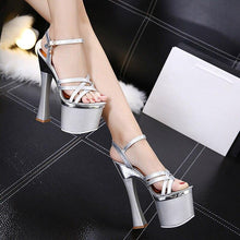 Load image into Gallery viewer, 20cm Thick High Heels Gladiator Sandals Summer Women's Peep Toe Platform Shoes Party Sandals