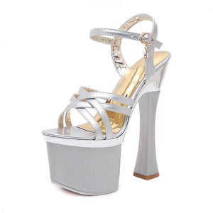 20cm Thick High Heels Gladiator Sandals Summer Women's Peep Toe Platform Shoes Party Sandals