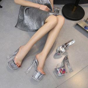 Fashion Transparent PVC Thick High Heels Slippers 17cm 20cm Women Crystal Shoes Female Hoof Heels Sandals