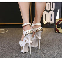 Load image into Gallery viewer, Women Sandals 15CM Hollow out Heel Roman Shoes Female Thin High Heel Platform Peep Toe Sandals