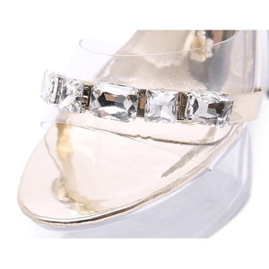 Fashion 15cm Super High Heels Women Thin Heel Transparent Crystal Shoes Women's Party Platform Sandals