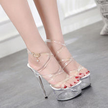Load image into Gallery viewer, Sexy Crystal Party Thin High Heel Platform Shoes Women Sunflower Flower Gladiator Sandals