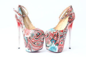 Flower High Heels Women Ethnic Style Pumps Female Party Ankle Strap Platform Dress Shoes