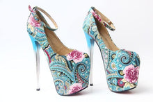 Load image into Gallery viewer, Flower High Heels Women Ethnic Style Pumps Female Party Ankle Strap Platform Dress Shoes