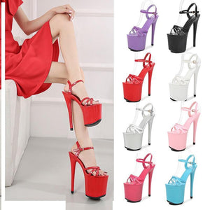 Fashion 15cm Thin High Heels Platform Sandals Women Patent Leather Narrow Band Shoes Woman