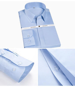 Men's Non Iron Long Sleeve Covered Placket Dress Shirt Standard-fit Formal Business Easy Care Solid Office Basic Designed Shirts
