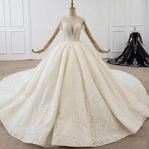 Romantic Illusion Wedding Dress Full Crystal O Neck Beading  Ball Gowns Lace Up Long Sleeve Bridal Dress