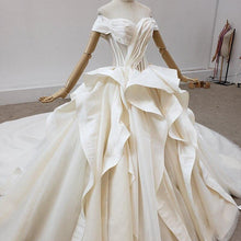 Load image into Gallery viewer, Sweetheart Simple Criss-Cross Satin Ruffles Wedding Dresses Short Sleeve Off The Shoulder