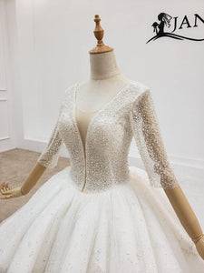 Wedding Dress v neck long sleeve wedding dress with pearl and transparent bead wedding gown wending dress