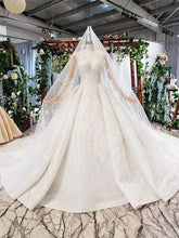 Load image into Gallery viewer, bohemian wedding dress with veil o-neck ball gown long sleeve bridal  gown with train