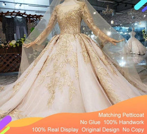 Luxury Wedding Dress with wedding veil backless handmade champagne golden lace bridal dress wedding gown with long train
