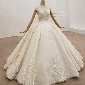 Elegant Wedding Dress Floor Length Champagne Ivory Wedding Sequin Bride Dress Tulle