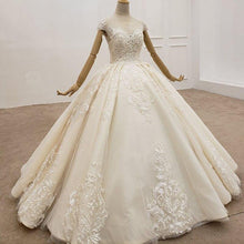 Load image into Gallery viewer, Elegant Wedding Dress Floor Length Champagne Ivory Wedding Sequin Bride Dress Tulle