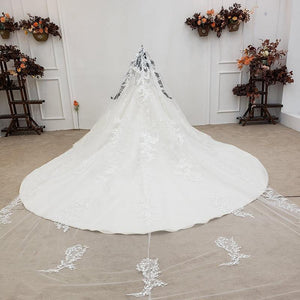 Simple White Luxury Wedding Dress With Veiled Pearls O-Neck Ball Gown Actual Image Vestidos De Noiva