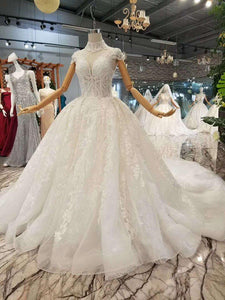 elegant princess beauty wedding dress high neck cap sleeves appliques long train wedding gown new real price high quality