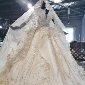Veiled Sequine Appliques Champagne Strapless Custom Made Wedding Dress Sleeveless Ball Gown robe de mariée dentelle