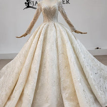Load image into Gallery viewer, Luxurious And Elegant Charming Deep O-Neck Wedding Dress Ball Gowns Long Sleeve