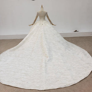Luxurious And Elegant Charming Deep O-Neck Wedding Dress Ball Gowns Long Sleeve
