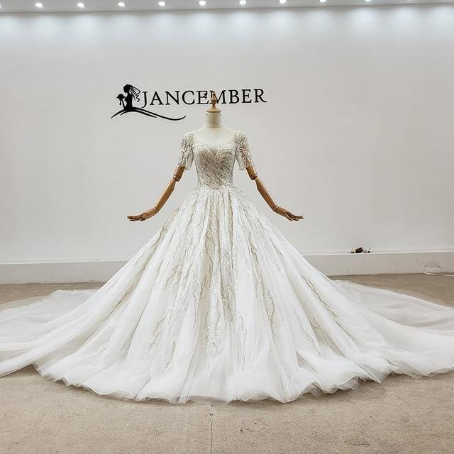 Luxuriously Embellished With Pearl Sequin Crystal O-Neck Wedding Dress Big Train Short Sleeve wedding dress
