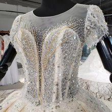 Load image into Gallery viewer, Sexy Luxury Crystal Beading Wedding Dresses O-Neck Short Sleeve Sequined Royal Train Ball Gowns