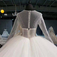 Load image into Gallery viewer, super ball gown wedding dress plus size illusion bead sequined long sleeve wedding gown button back