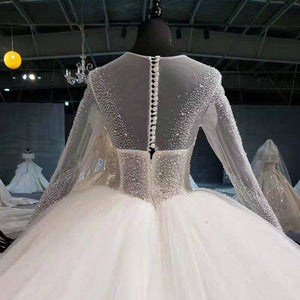 super ball gown wedding dress plus size illusion bead sequined long sleeve wedding gown button back