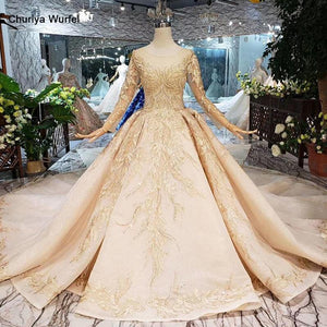golden wedding dresses gown with wedding veil o-neck long sleeve flowers bridal dress with train