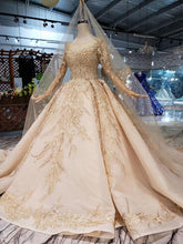 Load image into Gallery viewer, golden wedding dresses gown with wedding veil o-neck long sleeve flowers bridal dress with train