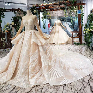 luxury wedding dress long sleeve high neck illusion lace wedding gowns with train vestidos de novia vintage