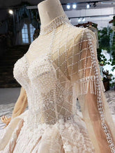 Load image into Gallery viewer, luxury wedding dress long sleeve high neck illusion lace wedding gowns with train vestidos de novia vintage