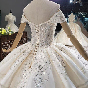 White Ivory The Top Covered With Pearl Sequin Flowers Wedding Dress Big Train Lace Up Back Ball Gowns