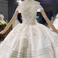 Load image into Gallery viewer, White Ivory The Top Covered With Pearl Sequin Flowers Wedding Dress Big Train Lace Up Back Ball Gowns
