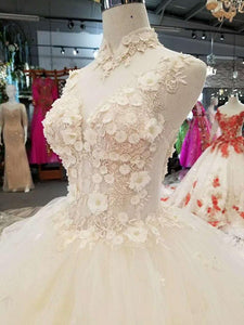 new arrival fairy elegant wedding dresses high neck sleeveless sexy v-back 3D flower cake style wedding gown more layer