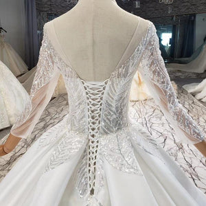 Elegant Simple Atmosphere Beading Wedding Dress Three Quarter Sleeve Lace Up Back V-Neck