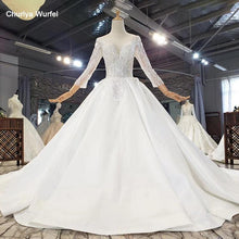 Load image into Gallery viewer, Elegant Simple Atmosphere Beading Wedding Dress Three Quarter Sleeve Lace Up Back V-Neck