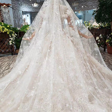 Load image into Gallery viewer, princess Wedding Dress with bridal veil puff sleeve lace up back handmade wedding gown with metallic line trajes de novia