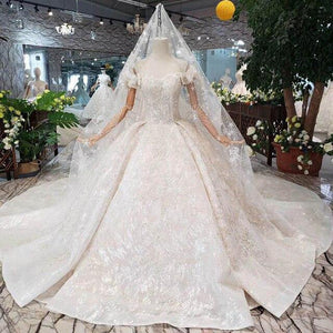 princess Wedding Dress with bridal veil puff sleeve lace up back handmade wedding gown with metallic line trajes de novia